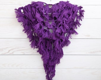 Purple Scarf, Frilly Scarf, Crochet cover up, Lace Scarf, Gift for Her, valentines gift, Womens Accessories (016)