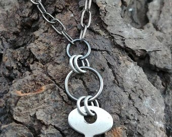 Gunmetal silver found object key necklace delicate minimalist handmade jewelry