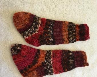 Red Orange Stripe Children's Hand Knit Socks