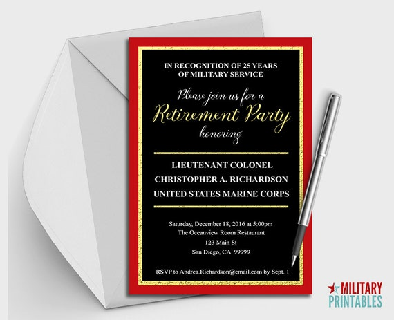 Marine Corps Retirement Party Invitation Printable Editable
