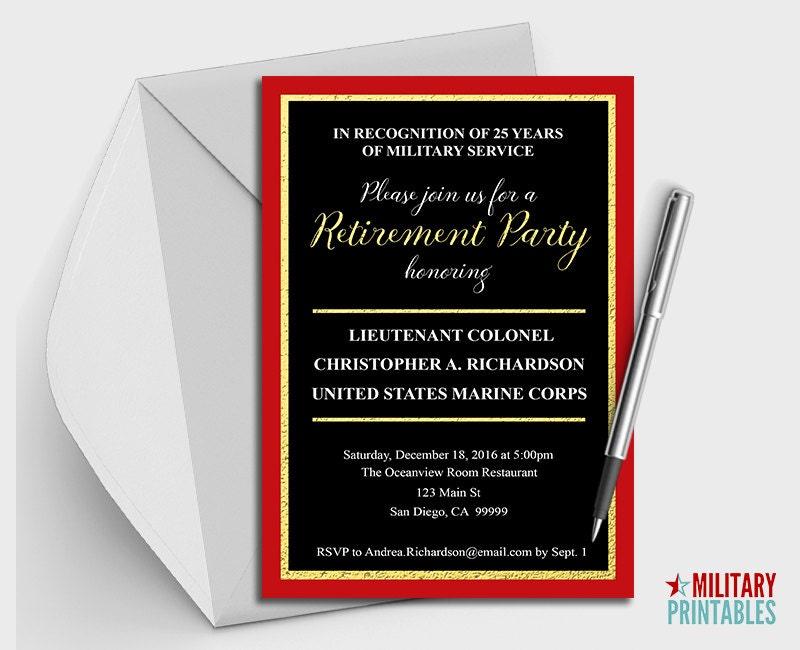 Marine Corps Retirement Party Invitation Printable Editable