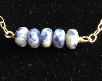Sodalite and Sterling Silver bar necklace