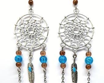 Christmas gift idea - jokes dreams Dreamcatcheravec plumeet blue, Brown Pearl Earrings