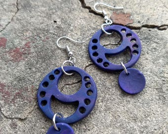Waxing and Waning Celestial Polymer Clay Earrings