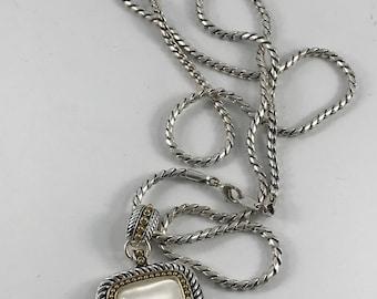 Vintage 1990's Era Silvertone Avon Necklace with Large Pearlized Pendant