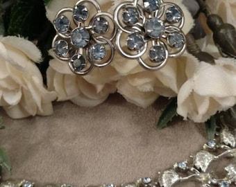 Vintage Rhinestone Bracelet and Earrings, Baby Blue Stones, Silver Tone, Dangle Earrings