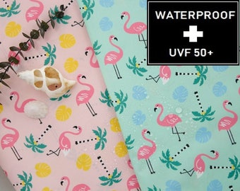 WATERPROOF AND UV 50+ Fabric - by Yard (150cm Width), Flamingo Pattern