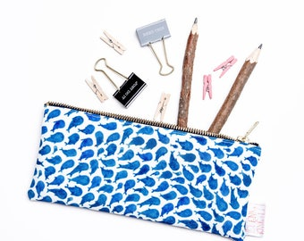 Pencil Case, Pencil Pouch, Make Up Bag, Blue, Whale, Pouch, Small Bag, Zipper Pouch, Bag, pencil bag, organiser, small bag,