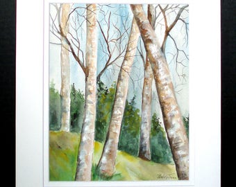 Birch Trees in Nature Original Watercolor Painting, Landscape Wall Art, Home Decor, Gift Art
