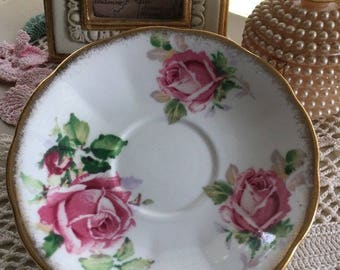 Queen Anne Lady Margaret Roses Demitasse Saucer Bone China Pink Shabby Chic mix n match tea party saucer
