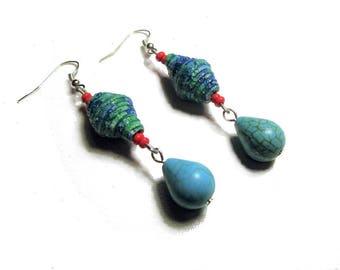 Earrings ethnic dangle earrings, turquoise, red,
