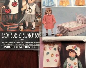 3 Cute Patterns for 18 Inch Dolls like American Girl - Uncut