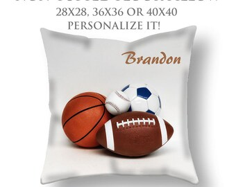 STUFFED Pillow-Custom Pillow-Sports Floor Pillow-Sports Decor-Round Floor Pillow-Baseball/Basketball/Football/Soccer-Floor Cushion-Seating