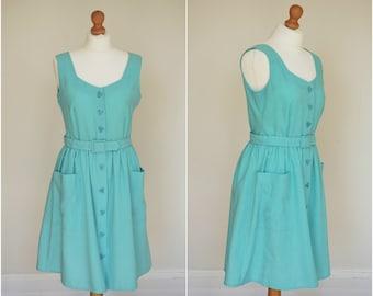 "1970s 70s Malia of Honolulu Summer Dress / Seafoam Sun Dress / 30"" waist"