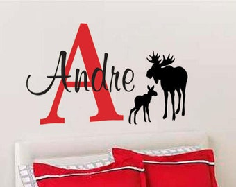 Boys Initial & name mom and baby moose Personalized monogram vinyl wall decal-baby, wild animals, forest, nature, nursery, kids bedroom-0164