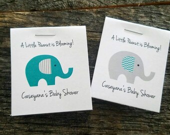Personalized MINI Elephant Baby Shower Party Flower Seeds Packet Favors Gray and Teal Blue Wildflower Seed Cute Little Favors