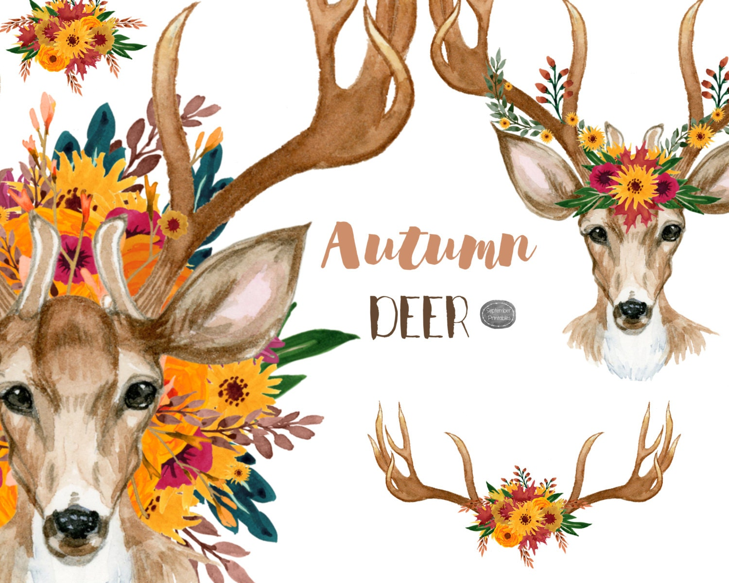 Autumn Deer and Floral Antlers Fall Clip Art Watercolor