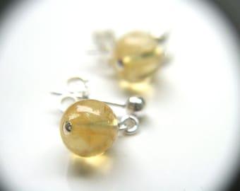 Citrine Earrings Stud . Citrine Crystal Stud Earrings . Healing Crystals and Stones Citrine Earrings Sterling Silver