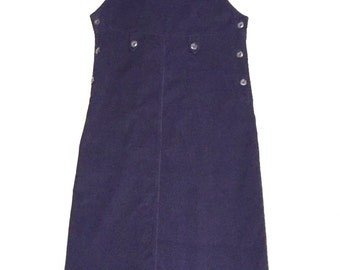 90s Corduroy Women's Navy Blue Overall Jumper Dress Size Small Petite