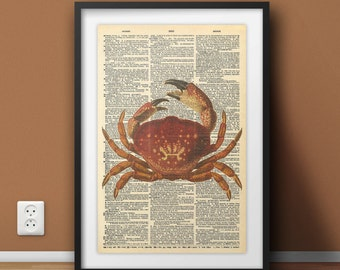 Crab Print, Vintage Crab Art, Retro Art Print, Crab Old Dictionary, Vintage Nautical, Crab Wall Decor, Sea Life Prints, Crab Poster