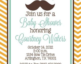 Little Man Mustache Baby Shower Invitation - Boy DIY Printable