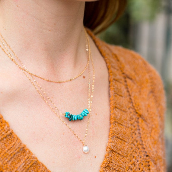 Gold Pearl + Turquoise Layer Necklace