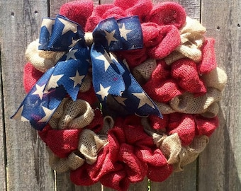 American Flag Burlap wreath Red white blue stars stripes Patriotic God Bless America