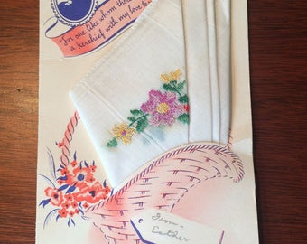 Vintage Mothers Day card with handerkerchief