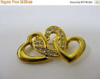 On Sale Retro Sparkling Rhinestone Linked Hearts Pin Item K # 1103