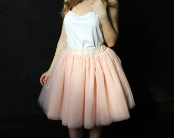 Peach tulle skirt, bridesmaid skirt, blush skirt, tulle skirt, bridesmaid dress