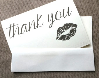 Lingerie Shower thank you lip notecards white or natural 3.5 x 5 inches --choice of envelope color - set of 10
