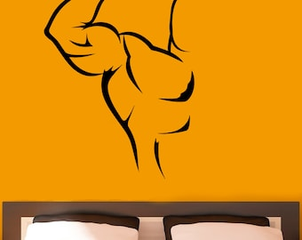 Bodybuilding Vinyl Decal Sport Muscles Stickers Wall Decals Vinyl Sticker Home Bedroom Decor (13bb01)