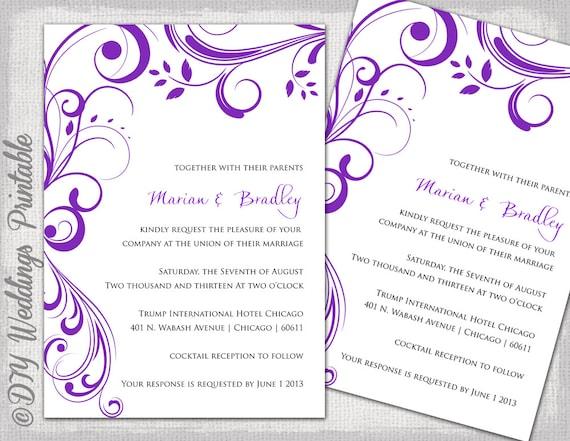 Hochzeitseinladungen Einladung Vorlagen Purple