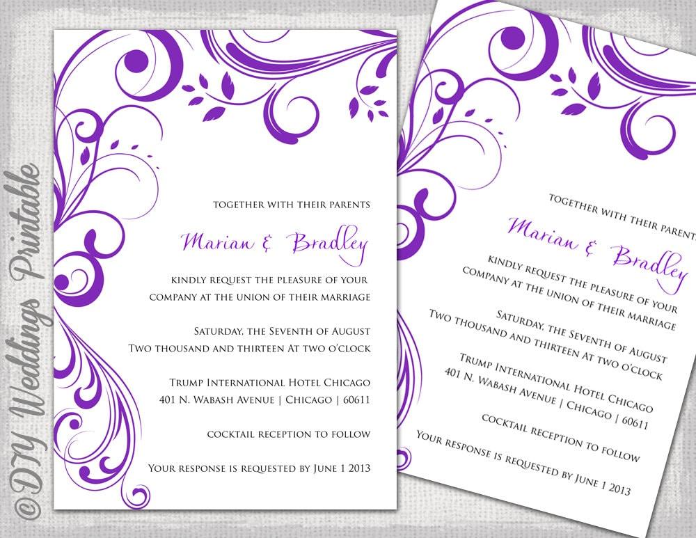 Wedding Invitation Templates Purple Scroll - Word templates for wedding invitations