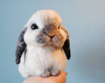 Custom Made Rabbit, Needle Felted Rabbit, Handmade Lifelike Felt Rabbit: Seal Point Dwarf Lop, Holland Lop, French Lop or any other breed
