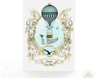 Hot air balloon card, French, vintage flight, steampunk, travel card, bon voyage card, birthday card, le ballon