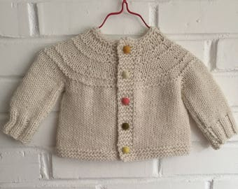 Confetti Hand Knit Baby Sweater in Soft Merino