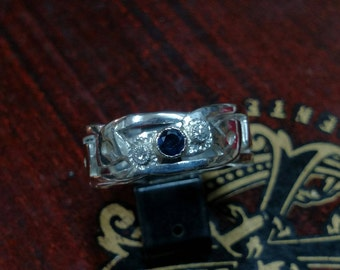 Sterling Silver Men's Celtic Knot Band with Sapphire and Old Mine Cut Diamonds
