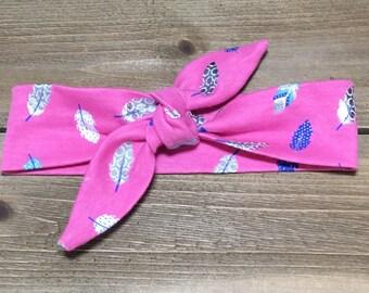Feather Headband- Baby Headwrap, Baby Head Wrap, Tie Knot Headband, Matching Baby Headbands, Girls Headbands, Newborn Headband, Baby Turban