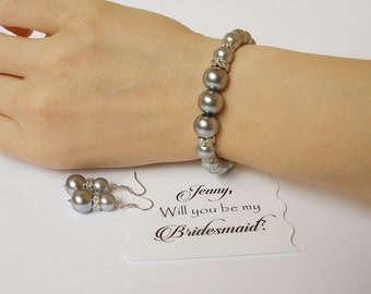 Will You Be My Bridesmaid Card with Bracelet and Earring Set  Bridesmaid Gift Bridesmaid Invitation Maid of Honor Proposal