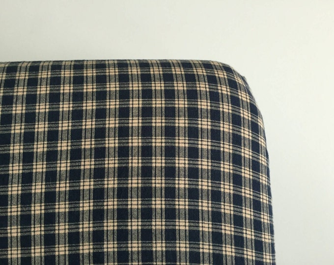 Navy and cream plaid fitted sheet
