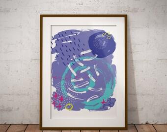 White Rain Abstract Art Print l Home Decor l Wall Art l Digital Download l Gift l Purple l Modern Print l Poster l