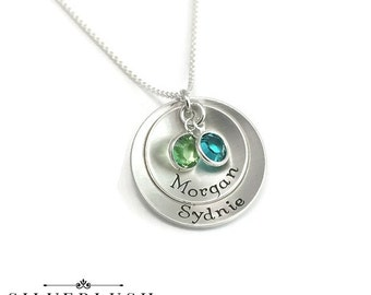 Personalized Sterling Silver Mother's Necklace with Birthstones