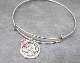 Initial Bracelet, Birthstone Bracelet, Bridesmaid Gift, Charm Bracelet, Personalized Jewelry, Birthstone Jewelry, Personalized Bangle