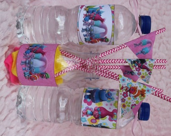 Digital Trolls Water Bottle Labels and Straw Flags. Instant Download. Party Table Decorations.  JPG