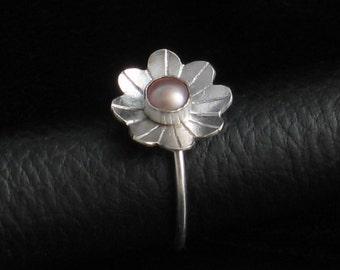 Handmade Sterling Silver Flower Pearl Ring