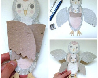 Gray DIY Owl Mom & Baby Fold Out Wing Card for  Birthday, Baby Shower, Pen Pals Gray, Pink, White