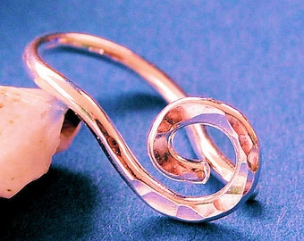 Rose Gold Navel Ring / Belly Ring / Coil Belly Ring / Simple Belly Ring / Rose Pink Gold Fill / Organic Open Spiral BEST SELLER