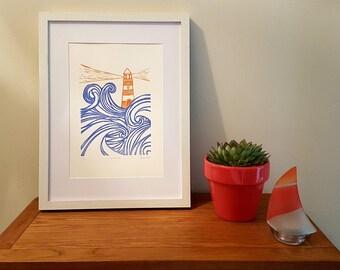Lighthouse - Lino Print