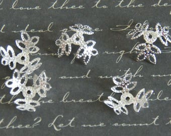 20 bead caps filigree leaves openwork silver metal 15mm